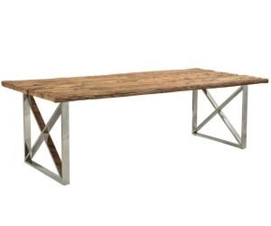 Table de salle à manger ultra design en acier inoxydable poli et plateau au choix KEXIS