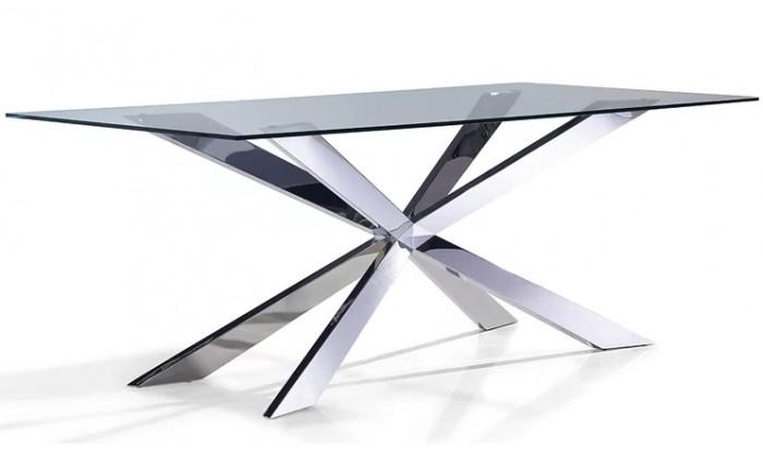 Table de salle à manger ultra design en acier inoxydable poli et plateau au choix ALVINA