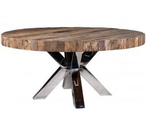 Table de salle à manger rond ultra design en acier inoxydable silver et plateau au choix CALIMERA