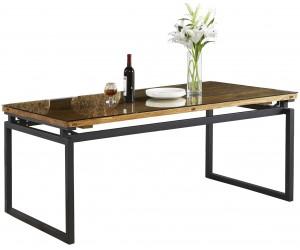 Table de salle à manger ultra design en acier noir poli et plateau au choix KIMBIRLEY