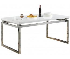 Table de salle à manger ultra design en acier silver poli et plateau au choix LUIGI