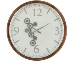 Horloge Engrenage Chiffres Arabes Mdf Blanc/Marron/Gris Large