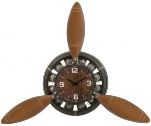 Horloge Helice Avion Metal Marron/Noir