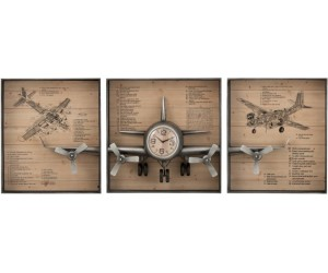 Horloge Avion 3 Parties Metal/Mdf Marron/Noir