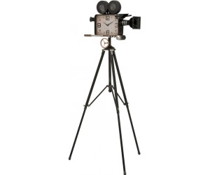 Horloge Camera Sur Pied Metal Noir