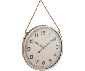 Horloge Ronde Metal Argent/Corde Jute