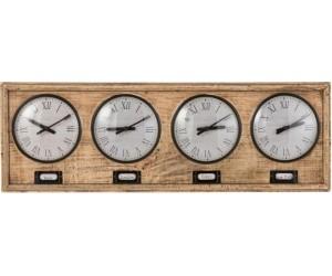 Horloge 4 Villes Bois De Manguier/Metal Naturel/Blanc
