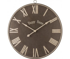 Horloge Happy House Metal Marron Large