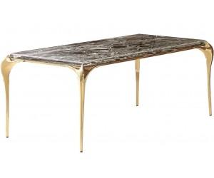 Table de salle à manger ultra design en acier inoxydable gold poli et marbre GLAMOUR