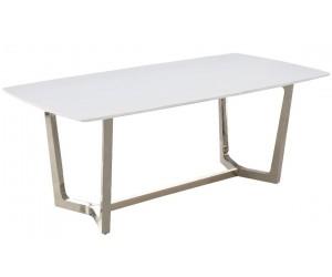 Table de salle à manger ultra design en acier inoxydable silver poli et marbre blanc GLAMOUR
