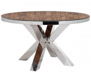 Table de salle à manger rond indienne ultra design en acier inoxydable silver et plateau bois massif SANNAH