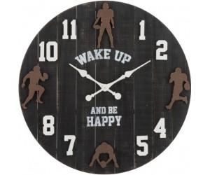 Horloge Ronde Football Americain Bois Noir/Marron/Blanc