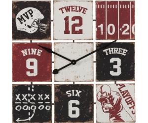 Horloge Carree Baseball Metal Noir/Blanc/Rouge