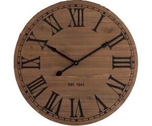 Horloge Ronde Chiffres Romains Bois Naturel Large