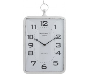 Horloge Rectangulaire Metal Blanc Verre Large