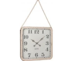 Horloge Carree Corde Metal Gris Large