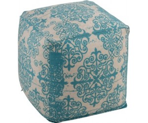 Pouf Baroque Polyester Turquoise/Beige