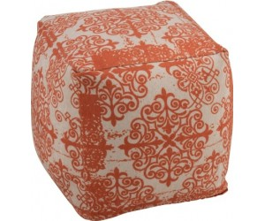 Pouf Baroque Polyester Orange/Beige