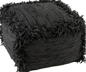 Pouf Crochete Carre Cuir Noir