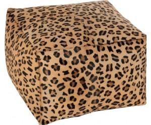 Pouf Leopard Carre Cuir Mix