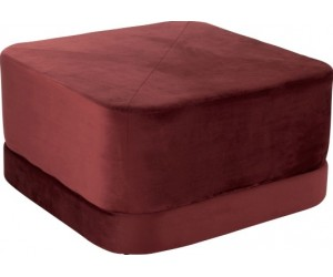 Pouf Carre Bas Velours Rouge