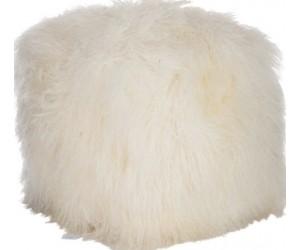 Pouf Long Carre Laine D'agneau Blanc