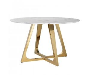 Table de salle à manger ultra design rond en acier inoxydable gold poli et marbre blanc MODENA