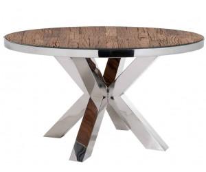 Table de salle à manger rond ultra design en acier inoxydable silver avec incl. verre CALVIN