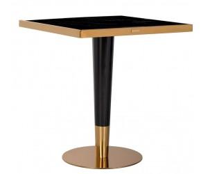 Table de salle à manger ultra design en acier inoxydable silver en verre SQUARE