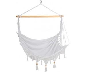 Chaise Suspendue Pompons Coton Blanc