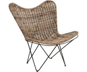 Chaise Lounge Rotin Naturel