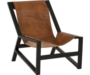 Chaise Relax Cuir/Metal Cognac/Noir