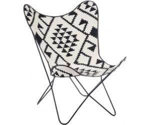 Chaise Lounge Jute/Metal Noir/Blanc