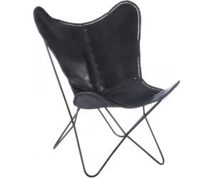Chaise Lounge Cuir/Metal Noir