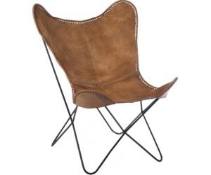Chaise Lounge Cuir/Metal Cognac