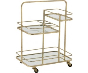 Chariot 3 Planches 4 Roues Metal/Verre Or