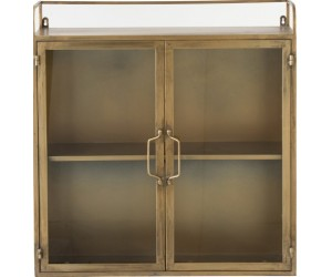 Armoire Murale 2 Portes Metal/Verre Antique Or