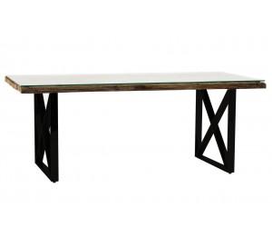 Table de salle à manger ultra design en acier noir poli et plateau au choix KEXIS-2