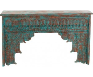 Console Orientale Bois De Manguier Azur/Orange