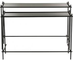 Set De 2 Console Rectangulaire Metal/Verre Noir