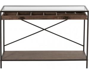 Console Tiroir Compartimente Bois/Metal Marron