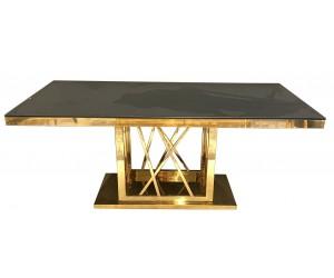 Table de salle à manger ultra design en acier inoxydable gold et plateau au choix CUSTER-2