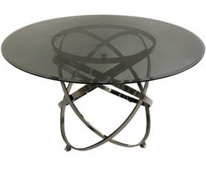 Table de salle à manger rond ultra design en acier inoxydable anthracite et plateau au choix CALIMERA