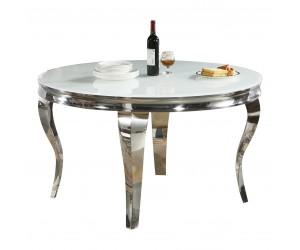 Table de salle à manger rond ultra design en acier inoxydable anthracite et plateau au choix CASTER