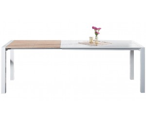 Table à manger X7 135-175-215cm blanc - chêne
