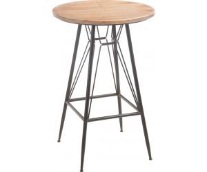 Table De Bar Bistro Metal/Bois Naturel/Noir