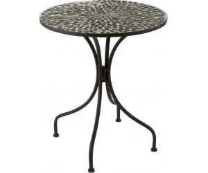 Table Lignes Mosaique Metal/Verre Noir/Vert