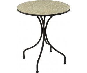 Table Eclat Mosaique Metal/Verre Noir/Jaune Pale
