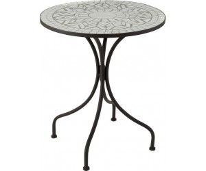 Table Eclat Mosaique Metal/Verre Noir/Orange