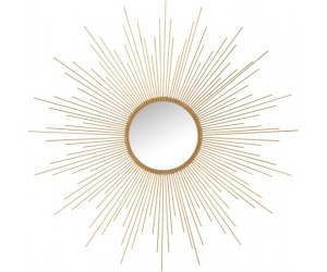 Miroir Barres Irregulieres Rond Metal/Verre Mat Or